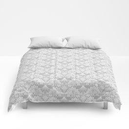 Stegosaurus Lace - White / Silver Comforters