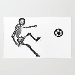 Skeleton playing football Rug
