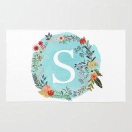 Personalized Monogram Initial Letter S Blue Watercolor Flower Wreath Artwork Rug