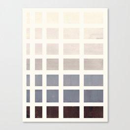 Grey Taupe Watercolor Gouache Geometric Square Matrix Pattern Canvas Print