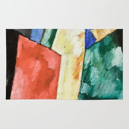 Abstraction: Blue, Yellow and Green by Marsden Hartley Rug