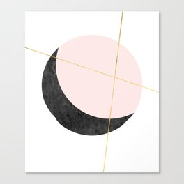 Pink Moon, Contemplation, Full Moon, Faux Gold Lines, Pink Black White Canvas Print