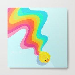 Rainbow Rubber Ducky Metal Print