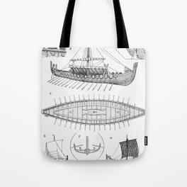 Vintage Viking Naval Ship History and Diagram Tote Bag