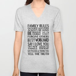 Family Rules 2 Unisex V-Neck
