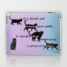 Black cat crossing Laptop & iPad Skin