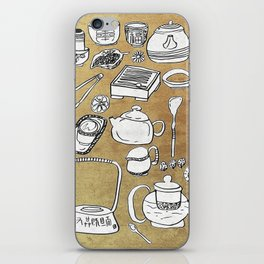 Chinese Tea Doodle 1 iPhone Skin
