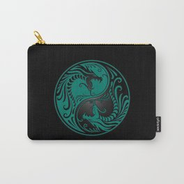Teal Blue and Black Yin Yang Dragons Carry-All Pouch