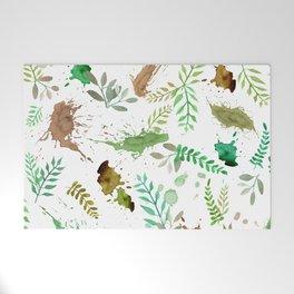 Green Leaves, Paint Splatter, Pattern Welcome Mat
