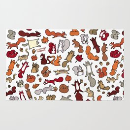 Squirrels in Fall Doodle Rug