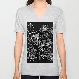 Feminine and Romantic Rose Pattern Line Work Illustration on Black Unisex V-Neck