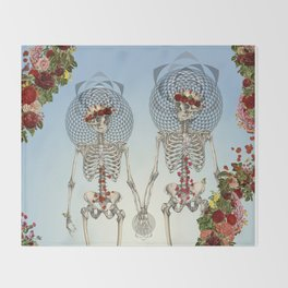 The Summer of Love anatomical skeleton collage art by bedelgeuse Throw Blanket