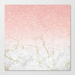 Rose Gold Glitter and gold white Marble Canvas Print