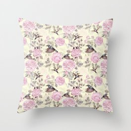 Vintage & Shabby Chic - Lush pastel roses and hummingbird pattern Throw Pillow