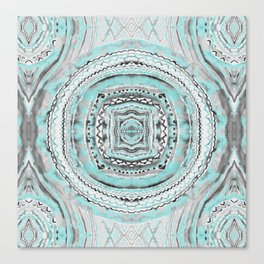 Teal & Blue Complexities - a Watercolor Tribal Pattern Canvas Print