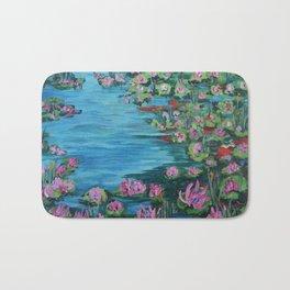 Lily Pond, Impressionism Painting, Pond Flowers Bath Mat