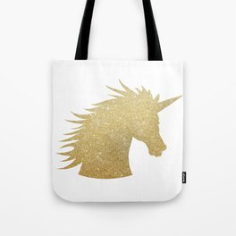 Gold Glitter Unicorn Tote Bag