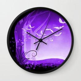 Dark Forest at Dawn in Amethyst Wall Clock