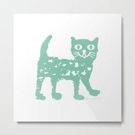 Mint cat drawing, cat drawing Metal Print