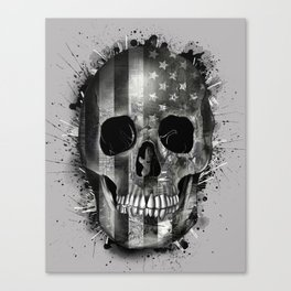 usa black and white skull Canvas Print