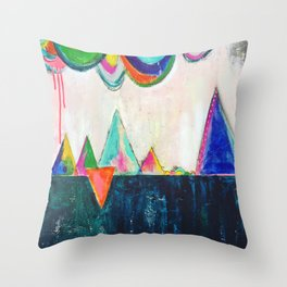 Bliss land abstract candy colored painting Throw Pillow