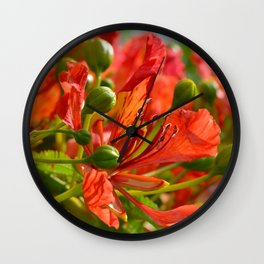 Red flame tree 290 Wall Clock