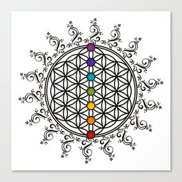 FLOWER OF LIFE, CHAKRAS, SPIRITUALITY, YOGA, ZEN,  Canvas Print