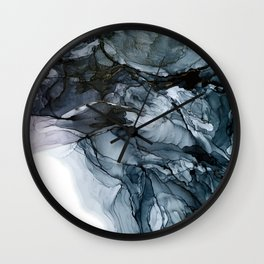 Dark Payne's Grey Flowing Abstract Painting Wall Clock