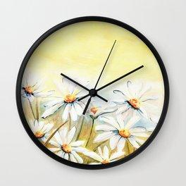 Daisies Watercolor Wall Clock