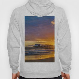 Lone Seagull at Sunset - Newport Pier Hoody