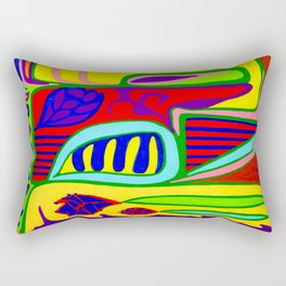 Abstract flower and shapes Rectangular Pillow