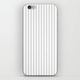 Dove Grey Pin Stripes on White iPhone Skin
