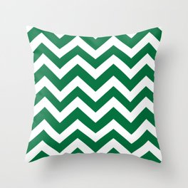 Dartmouth green - green color -  Zigzag Chevron Pattern Throw Pillow