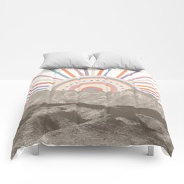 Summerlin Mountain Up // Abstract Vintage Mountains Summer Sun Surf Beach Vibe Drawing Happy Wall Ha Comforters