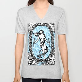 Modern Tarot Design - 21 The World Unisex V-Neck
