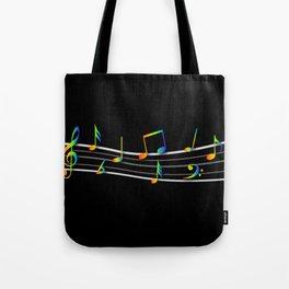 Rainbow Music Notes on Black Tote Bag