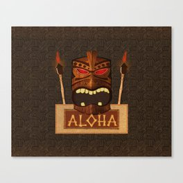 Vintage Wood Tiki Aloha Canvas Print