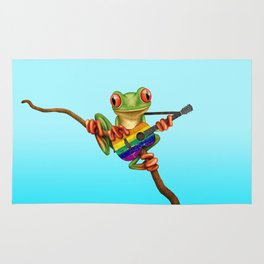 Tree Frog Playing Acoustic Guitar with Gay Pride Rainbow Flag Rug