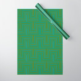 Doors & corners op art pattern in olive green and aqua blue Wrapping Paper