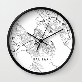 Halifax Map, Canada - Black and White Wall Clock