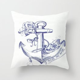 I Will Not Sink Rose Anchor Throw Pillow