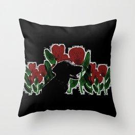 Black Lab In A Flower Garden Throw Pillow
