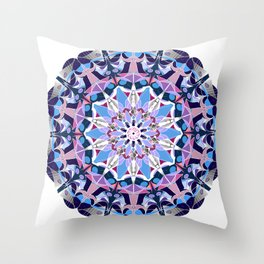 blue grey white pink purple mandala Throw Pillow