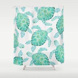Sea Turtle Pattern - Blue Shower Curtain