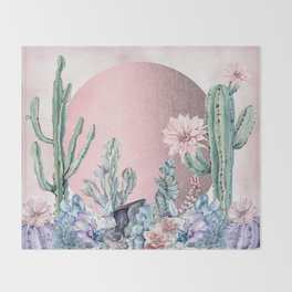 Desert Sun + Gemstones Rose Gold Pink Watercolor Throw Blanket