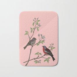 Peaceful harmony in the cherry tree - Illustration Bath Mat