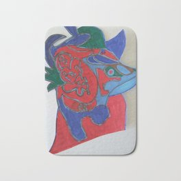 Red horse abstract modern paitings by Christian T. Bath Mat