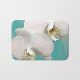 WHITE ORCHIDS - AQUA Bath Mat