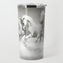 Wild White Horses Travel Mug