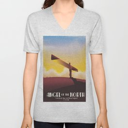 Angel of the North Travel poster. Unisex V-Neck